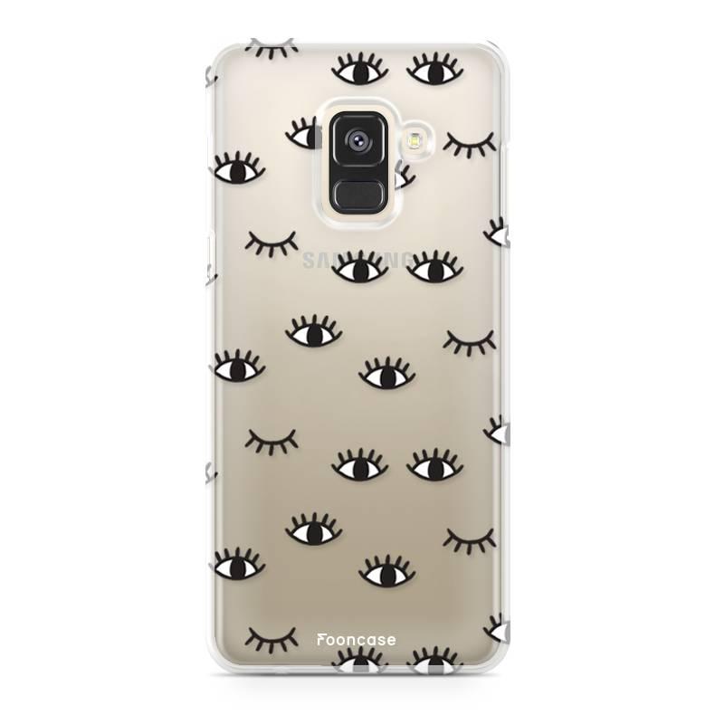 FOONCASE Samsung Galaxy A8 2018 hoesje TPU Soft Case - Back Cover - Eyes / Ogen
