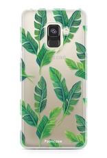FOONCASE Samsung Galaxy A8 2018 hoesje TPU Soft Case - Back Cover - Banana leaves / Bananen bladeren