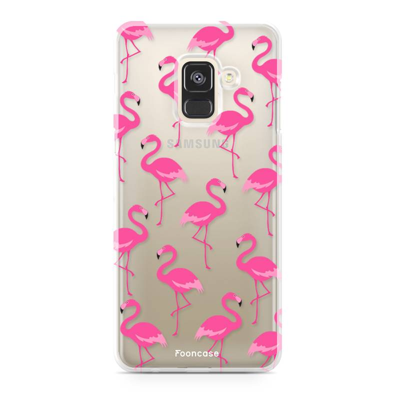 FOONCASE Samsung Galaxy A8 2018 hoesje TPU Soft Case - Back Cover -  Flamingo