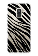 FOONCASE Samsung Galaxy A8 2018 hoesje TPU Soft Case - Back Cover - Zebra print