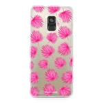 FOONCASE Samsung Galaxy A8 2018 - Pink leaves