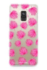 FOONCASE Samsung Galaxy A8 2018 hoesje TPU Soft Case - Back Cover - Pink leaves / Roze bladeren