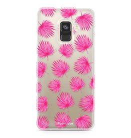 FOONCASE Samsung Galaxy A8 2018 - Pink leaves