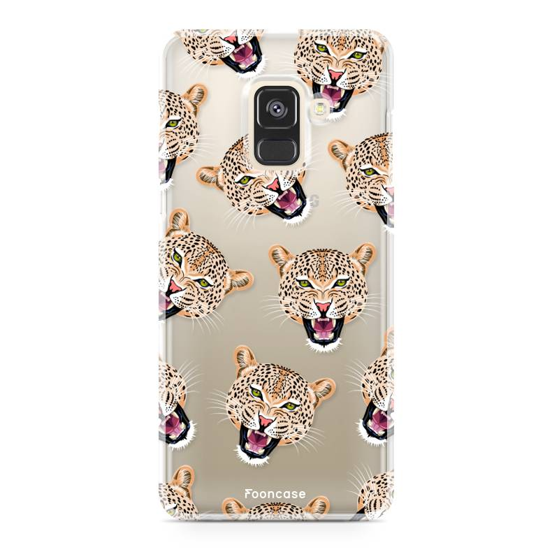 FOONCASE Samsung Galaxy A8 2018 hoesje TPU Soft Case - Back Cover - Cheeky Leopard / Luipaard hoofden