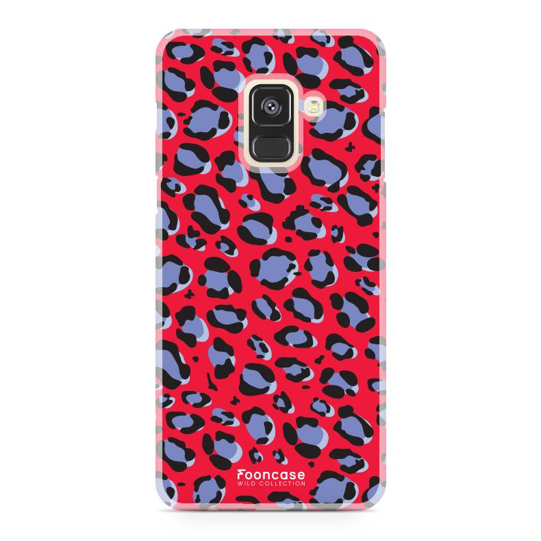 FOONCASE Samsung Galaxy A8 2018 hoesje TPU Soft Case - Back Cover - WILD COLLECTION / Luipaard / Leopard print / Rood