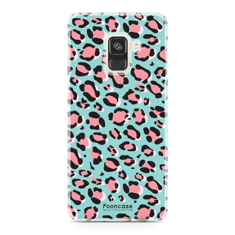 FOONCASE Samsung Galaxy A8 2018 hoesje TPU Soft Case - Back Cover - WILD COLLECTION / Luipaard / Leopard print / Blauw