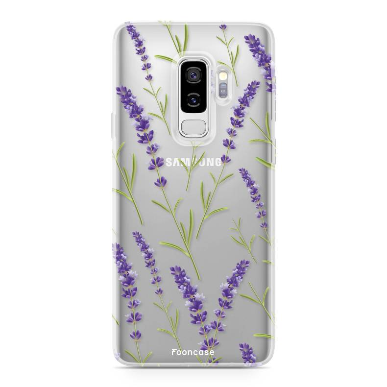 FOONCASE Samsung Galaxy S9 Plus hoesje TPU Soft Case - Back Cover - Purple Flower / Paarse bloemen