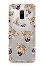 FOONCASE Samsung Galaxy S9 Plus hoesje TPU Soft Case - Back Cover - Cheeky Leopard / Luipaard hoofden