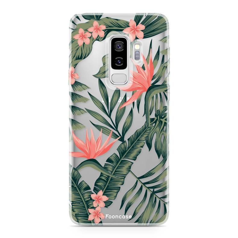 FOONCASE Samsung Galaxy S9 Plus hoesje TPU Soft Case - Back Cover - Tropical Desire / Bladeren / Roze