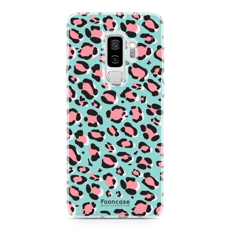 FOONCASE Samsung Galaxy S9 Plus hoesje TPU Soft Case - Back Cover - WILD COLLECTION / Luipaard / Leopard print / Blauw