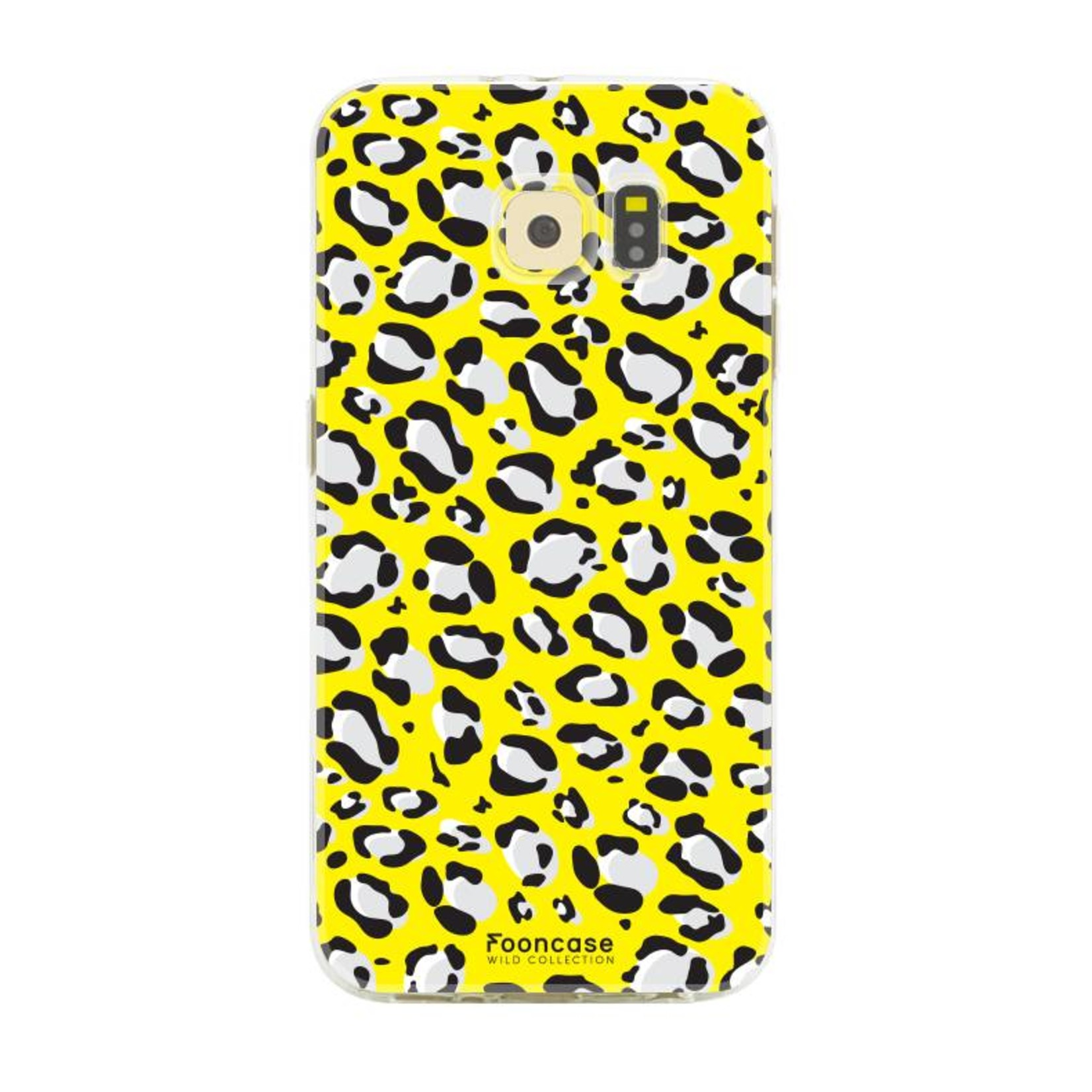 FOONCASE Samsung Galaxy S6 hoesje TPU Soft Case - Back Cover - WILD COLLECTION / Luipaard / Leopard print / Geel