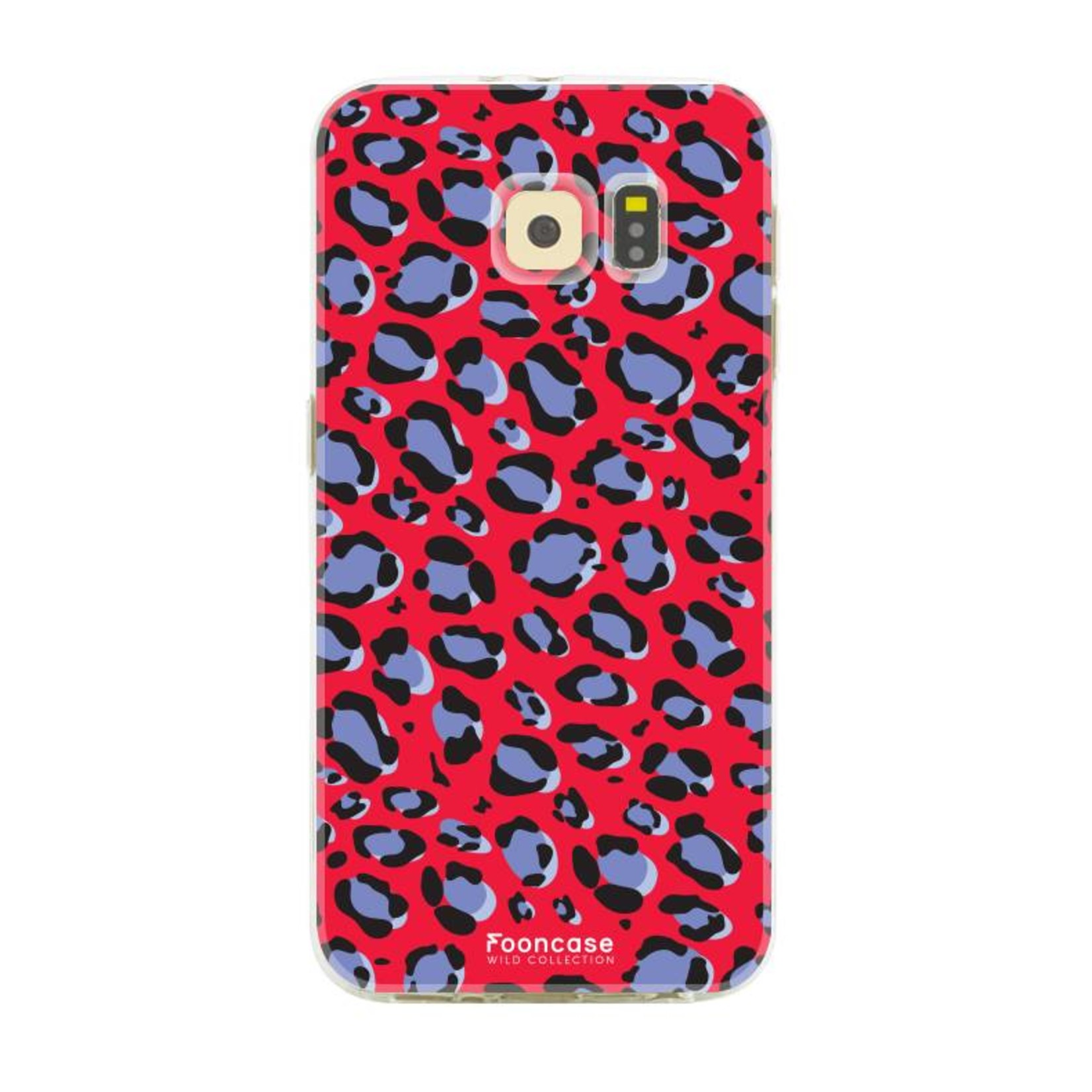 FOONCASE Samsung Galaxy S6 hoesje TPU Soft Case - Back Cover - WILD COLLECTION / Luipaard / Leopard print / Rood