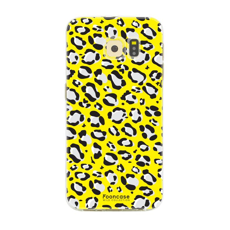 FOONCASE Samsung Galaxy S6 Edge hoesje TPU Soft Case - Back Cover - WILD COLLECTION / Luipaard / Leopard print / Geel