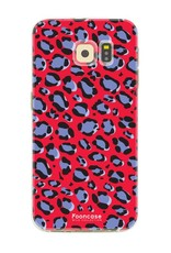 FOONCASE Samsung Galaxy S6 Edge hoesje TPU Soft Case - Back Cover - WILD COLLECTION / Luipaard / Leopard print / Rood