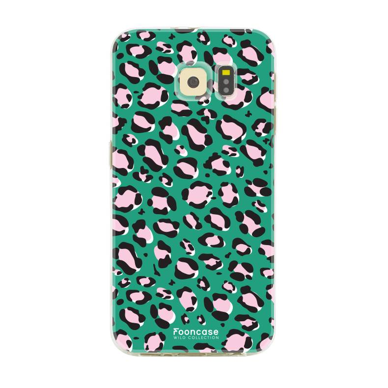 FOONCASE Samsung Galaxy S6 Edge hoesje TPU Soft Case - Back Cover - WILD COLLECTION / Luipaard / Leopard print / Groen