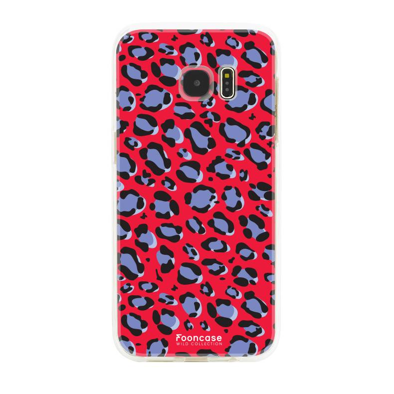 FOONCASE Samsung Galaxy S7 Edge hoesje TPU Soft Case - Back Cover - WILD COLLECTION / Luipaard / Leopard print / Rood