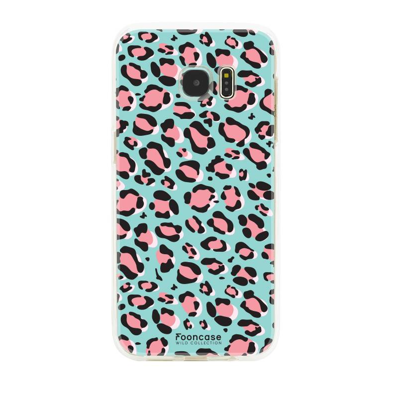 FOONCASE Samsung Galaxy S7 Edge hoesje TPU Soft Case - Back Cover - WILD COLLECTION / Luipaard / Leopard print / Blauw