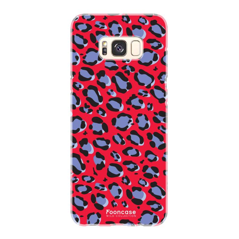 FOONCASE Samsung Galaxy S8 hoesje TPU Soft Case - Back Cover - WILD COLLECTION / Luipaard / Leopard print / Rood