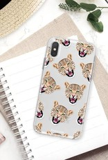 FOONCASE iPhone XS hoesje TPU Soft Case - Back Cover - Cheeky Leopard / Luipaard hoofden