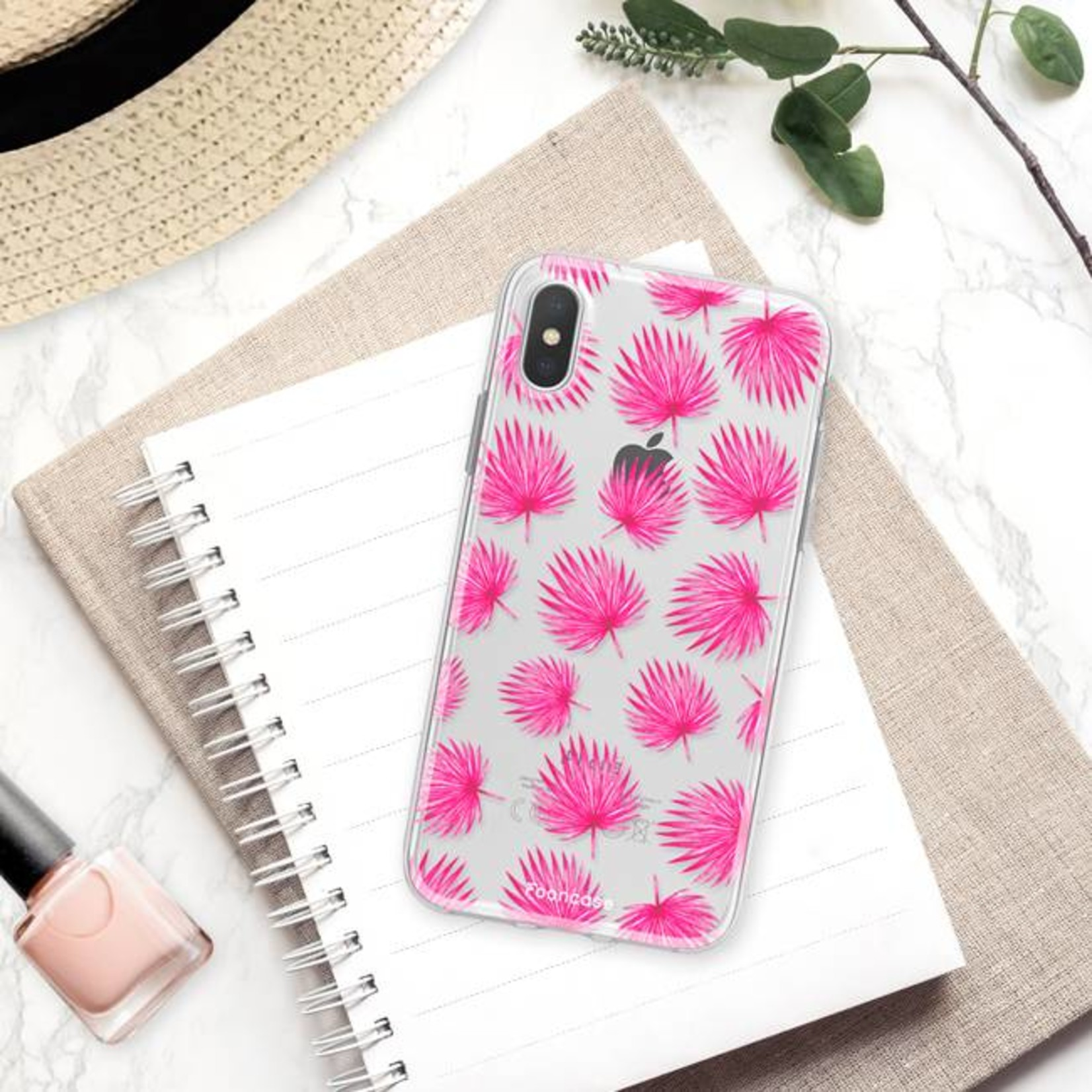 FOONCASE iPhone XS hoesje TPU Soft Case - Back Cover - Pink leaves / Roze bladeren