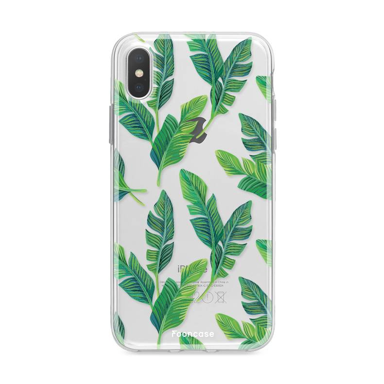 FOONCASE iPhone XS hoesje TPU Soft Case - Back Cover - Banana leaves / Bananen bladeren