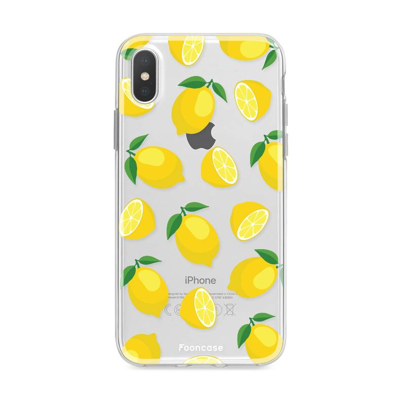 FOONCASE iPhone XS hoesje TPU Soft Case - Back Cover - Lemons / Citroen / Citroentjes