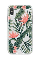 FOONCASE iPhone XS hoesje TPU Soft Case - Back Cover - Tropical Desire / Bladeren / Roze