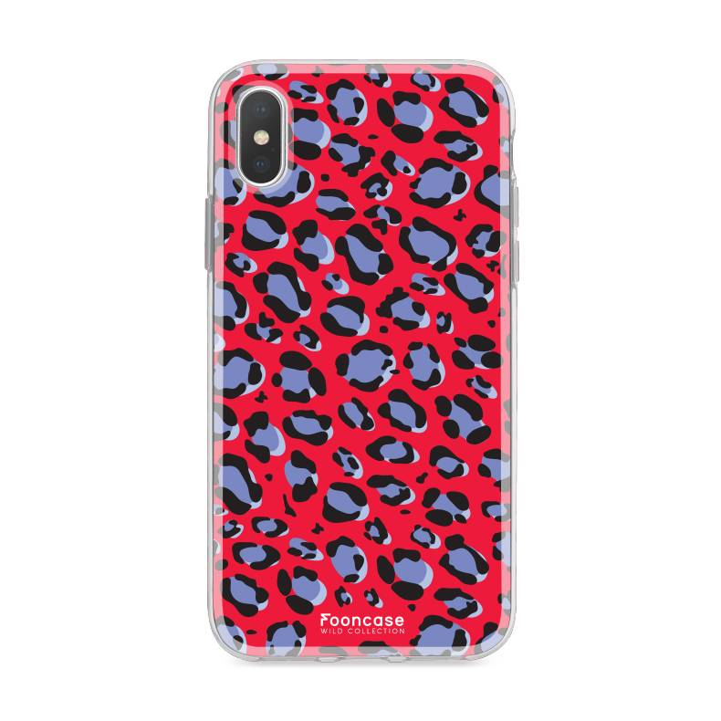 FOONCASE iPhone XS hoesje TPU Soft Case - Back Cover - WILD COLLECTION / Luipaard / Leopard print / Rood
