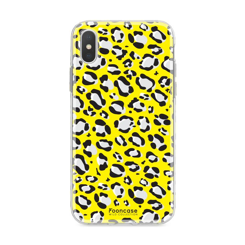 FOONCASE iPhone XS hoesje TPU Soft Case - Back Cover - WILD COLLECTION / Luipaard / Leopard print / Geel