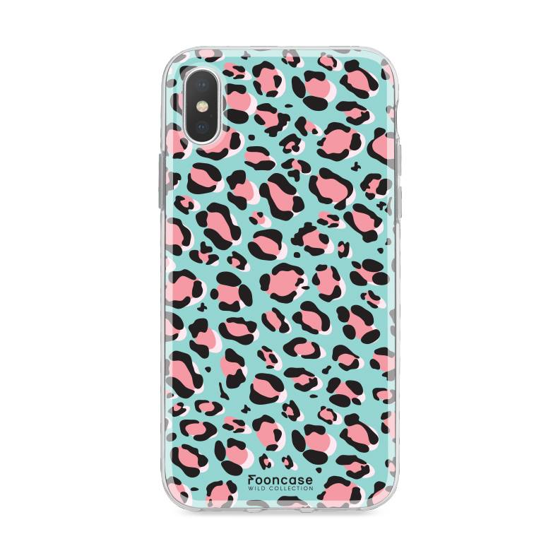 FOONCASE iPhone XS hoesje TPU Soft Case - Back Cover - WILD COLLECTION / Luipaard / Leopard print / Blauw