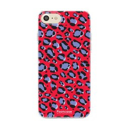 FOONCASE iPhone 7 hoesje TPU Soft Case - Back Cover - WILD COLLECTION / Luipaard / Leopard print / Rood