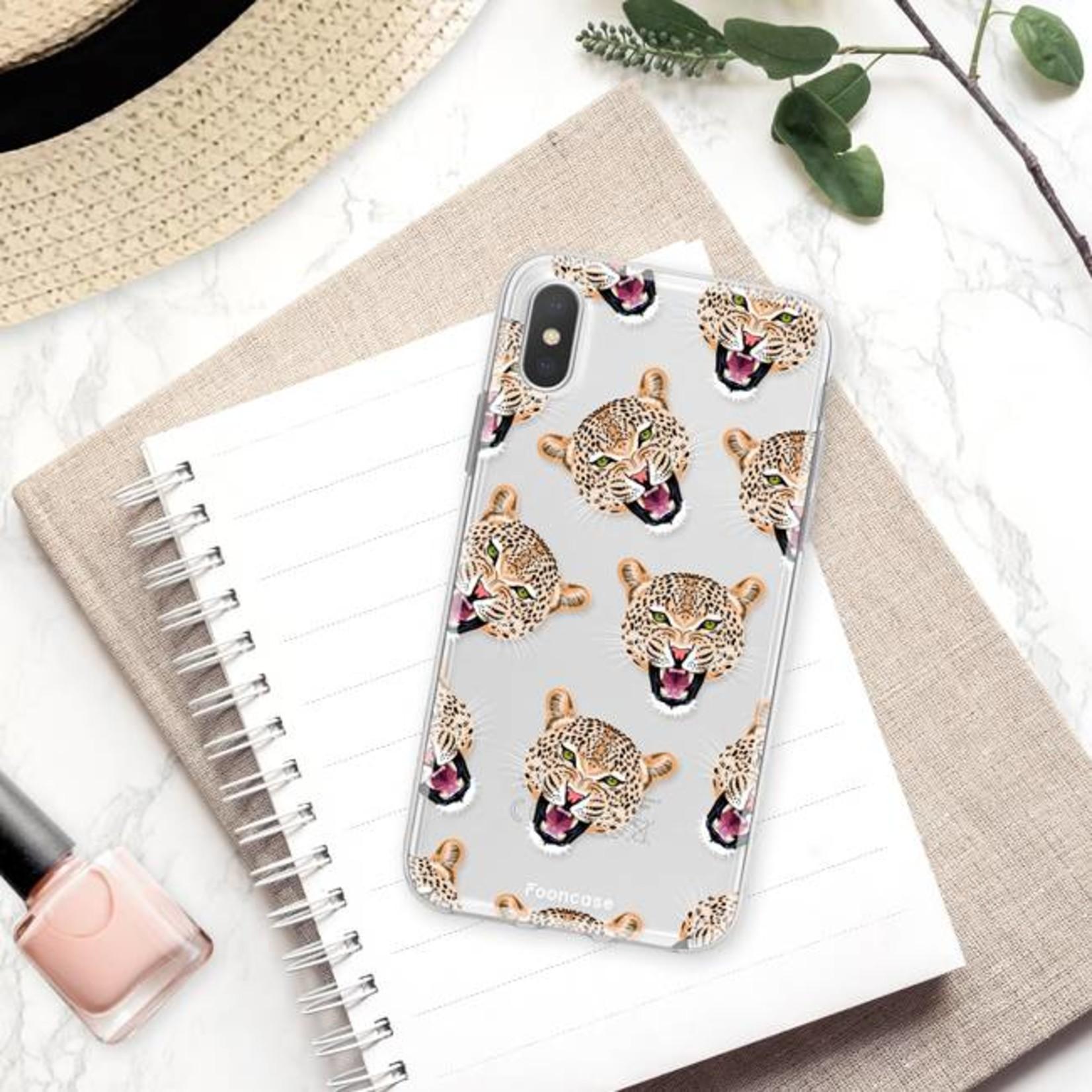 FOONCASE iPhone XS Max hoesje TPU Soft Case - Back Cover - Cheeky Leopard / Luipaard hoofden