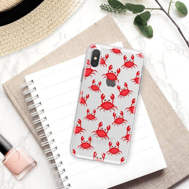 FOONCASE iPhone XS Max hoesje TPU Soft Case - Back Cover - Crabs / Krabbetjes / Krabben