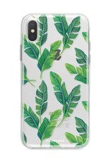 FOONCASE iPhone XS Max hoesje TPU Soft Case - Back Cover - Banana leaves / Bananen bladeren