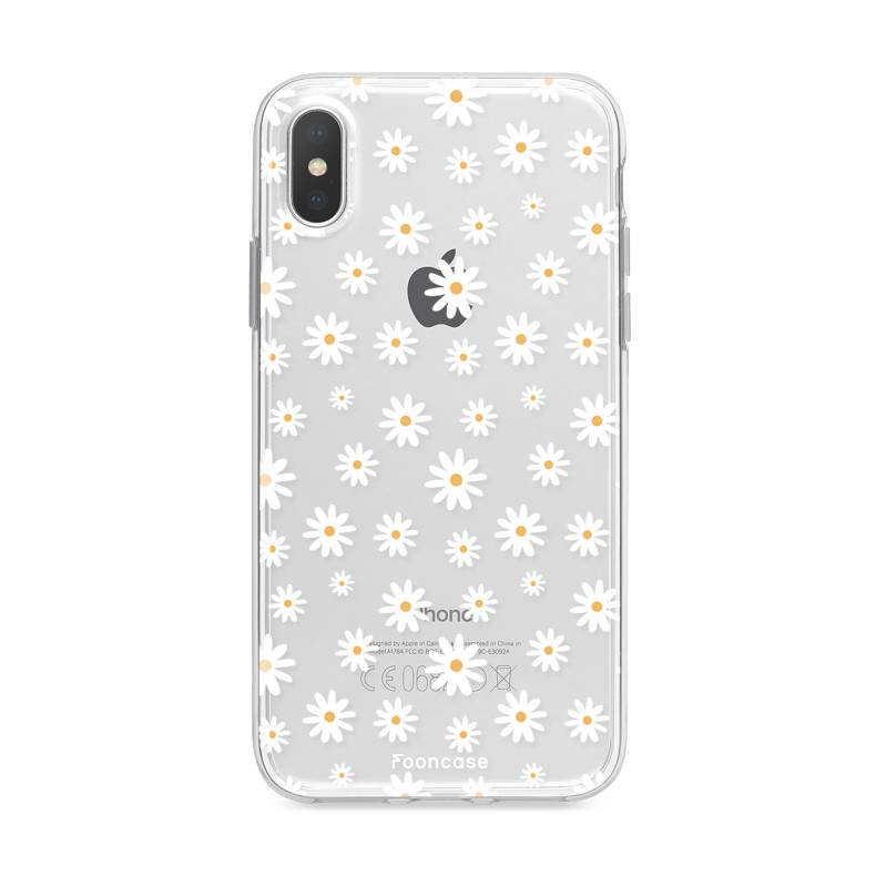 FOONCASE iPhone XS Max hoesje TPU Soft Case - Back Cover - Madeliefjes
