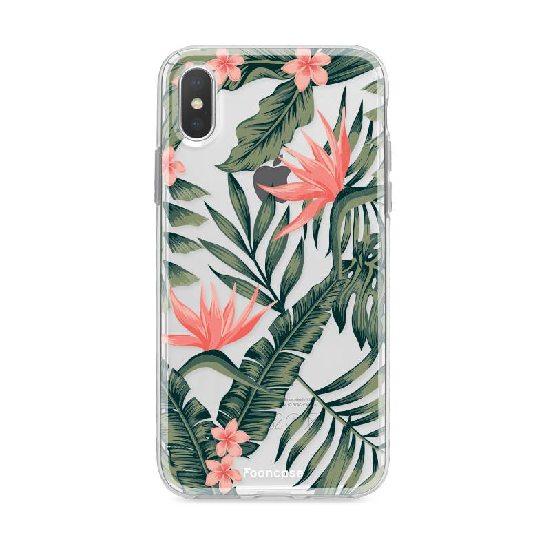 FOONCASE iPhone XS Max hoesje TPU Soft Case - Back Cover - Tropical Desire / Bladeren / Roze
