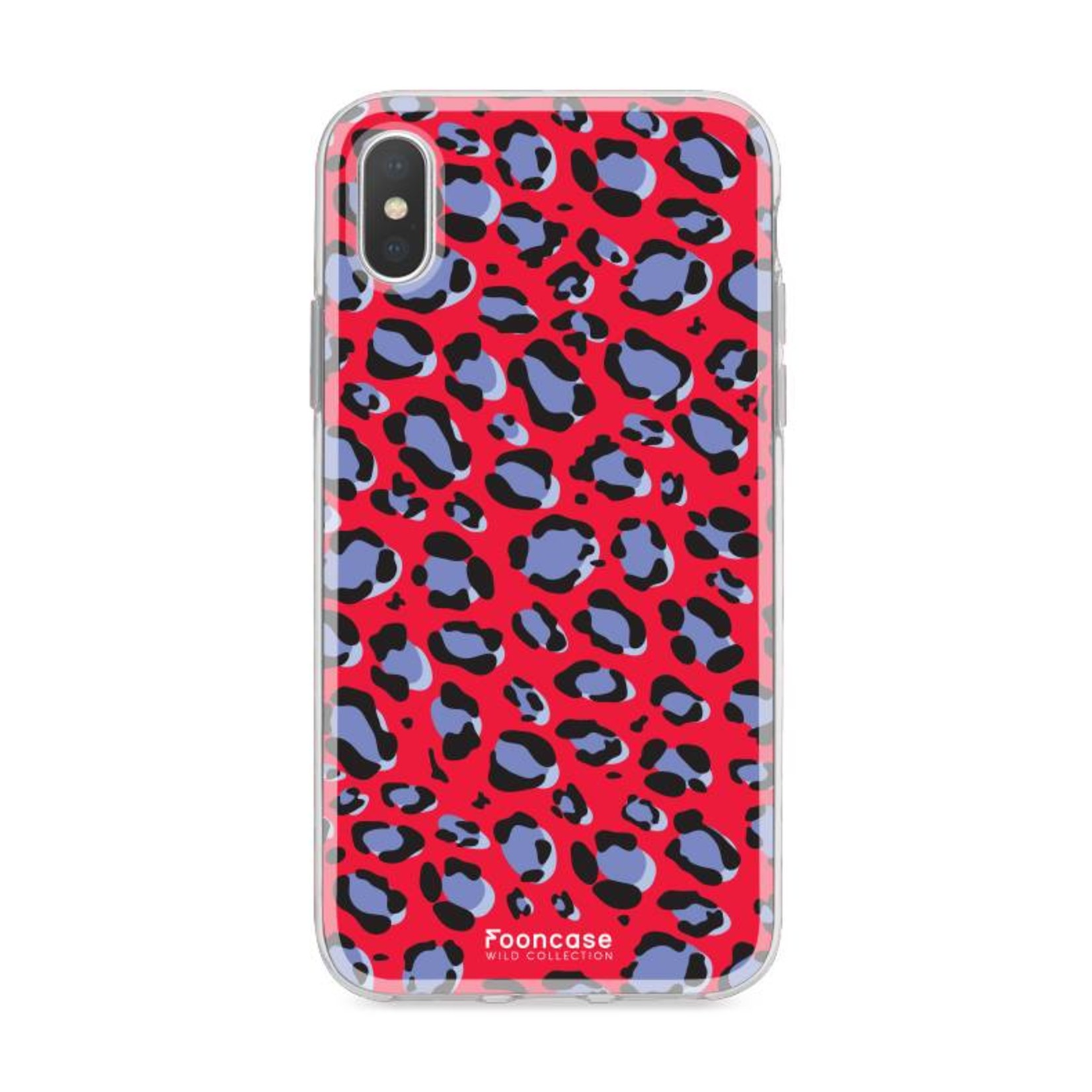 FOONCASE iPhone XS Max hoesje TPU Soft Case - Back Cover - WILD COLLECTION / Luipaard / Leopard print / Rood
