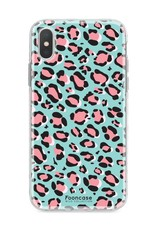 FOONCASE iPhone XS Max hoesje TPU Soft Case - Back Cover - WILD COLLECTION / Luipaard / Leopard print / Blauw