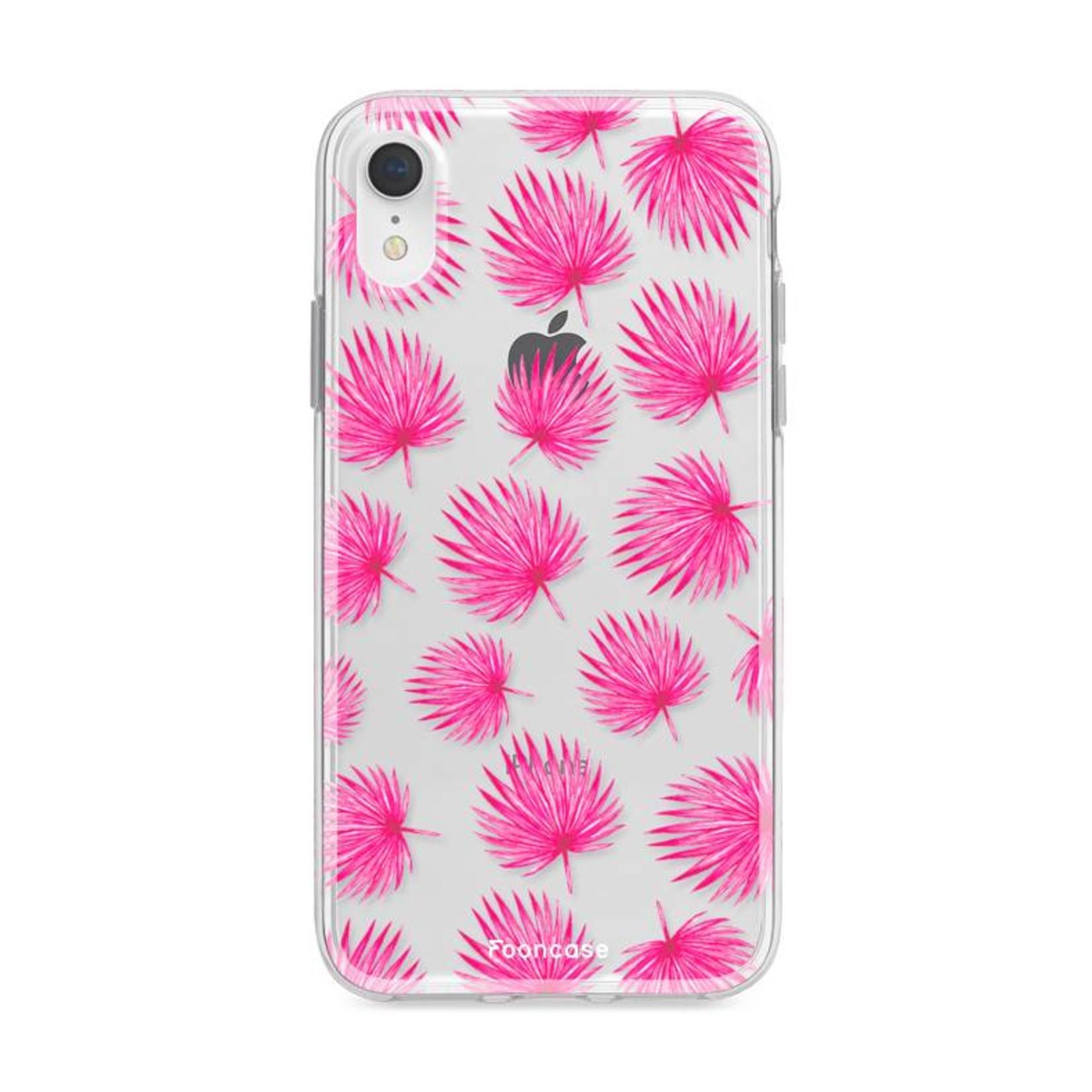 FOONCASE iPhone XR hoesje TPU Soft Case - Back Cover - Pink leaves / Roze bladeren