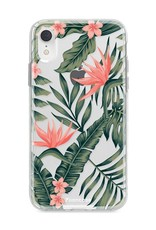 FOONCASE iPhone XR hoesje TPU Soft Case - Back Cover - Tropical Desire / Bladeren / Roze