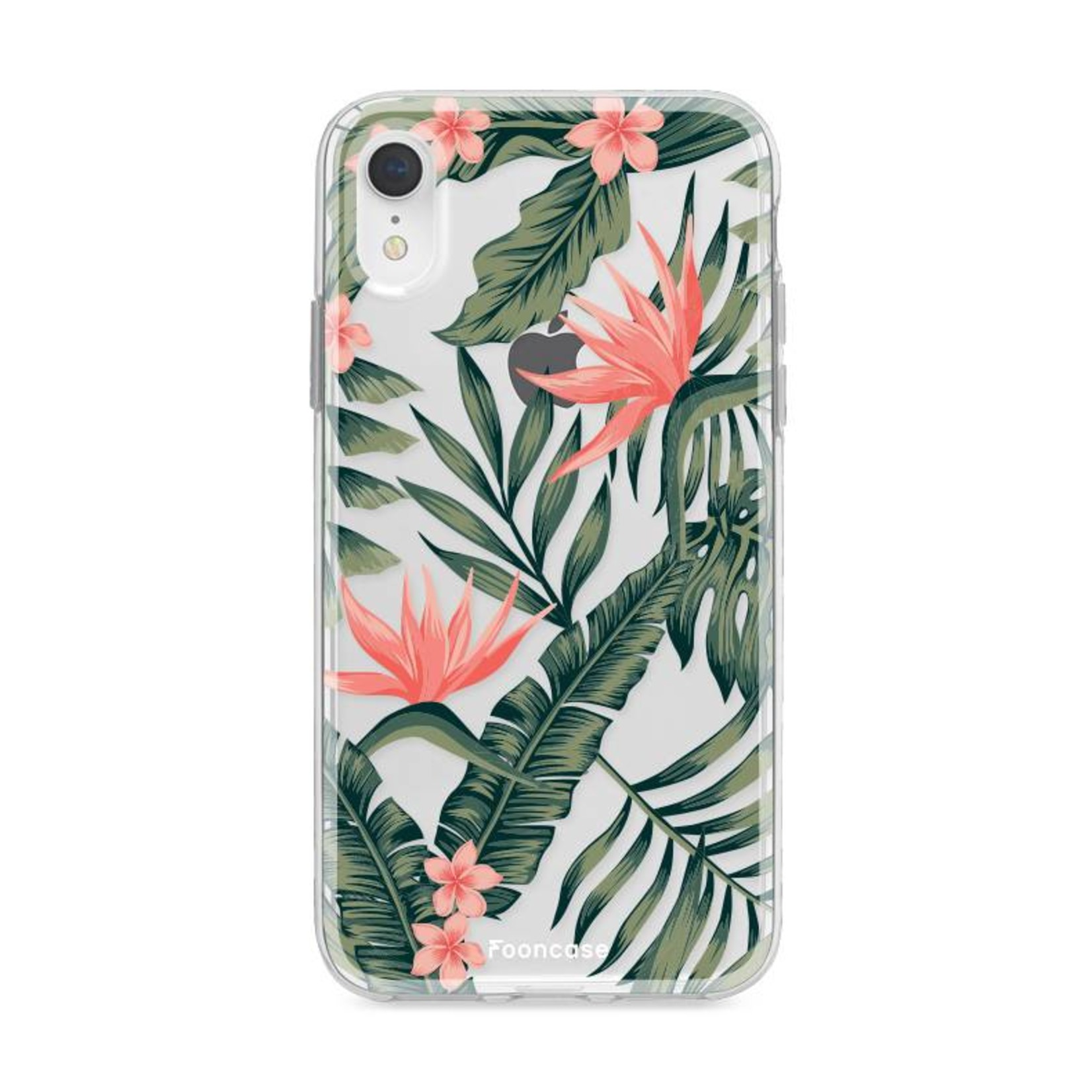 FOONCASE iPhone XR hoesje TPU Soft Case - Back Cover - Tropical Desire / Bladeren / Roze