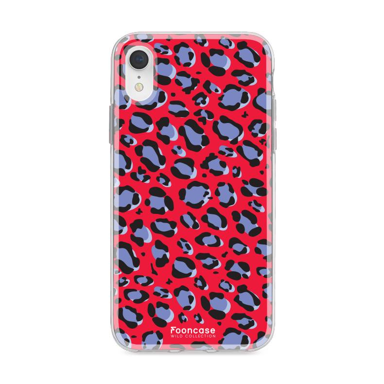 FOONCASE iPhone XR hoesje TPU Soft Case - Back Cover - WILD COLLECTION / Luipaard / Leopard print / Rood