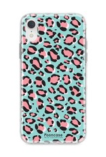 FOONCASE iPhone XR hoesje TPU Soft Case - Back Cover - WILD COLLECTION / Luipaard / Leopard print / Blauw