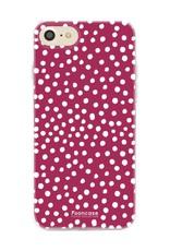 FOONCASE iPhone 7 hoesje TPU Soft Case - Back Cover - POLKA COLLECTION / Stipjes / Stippen / Bordeaux Rood