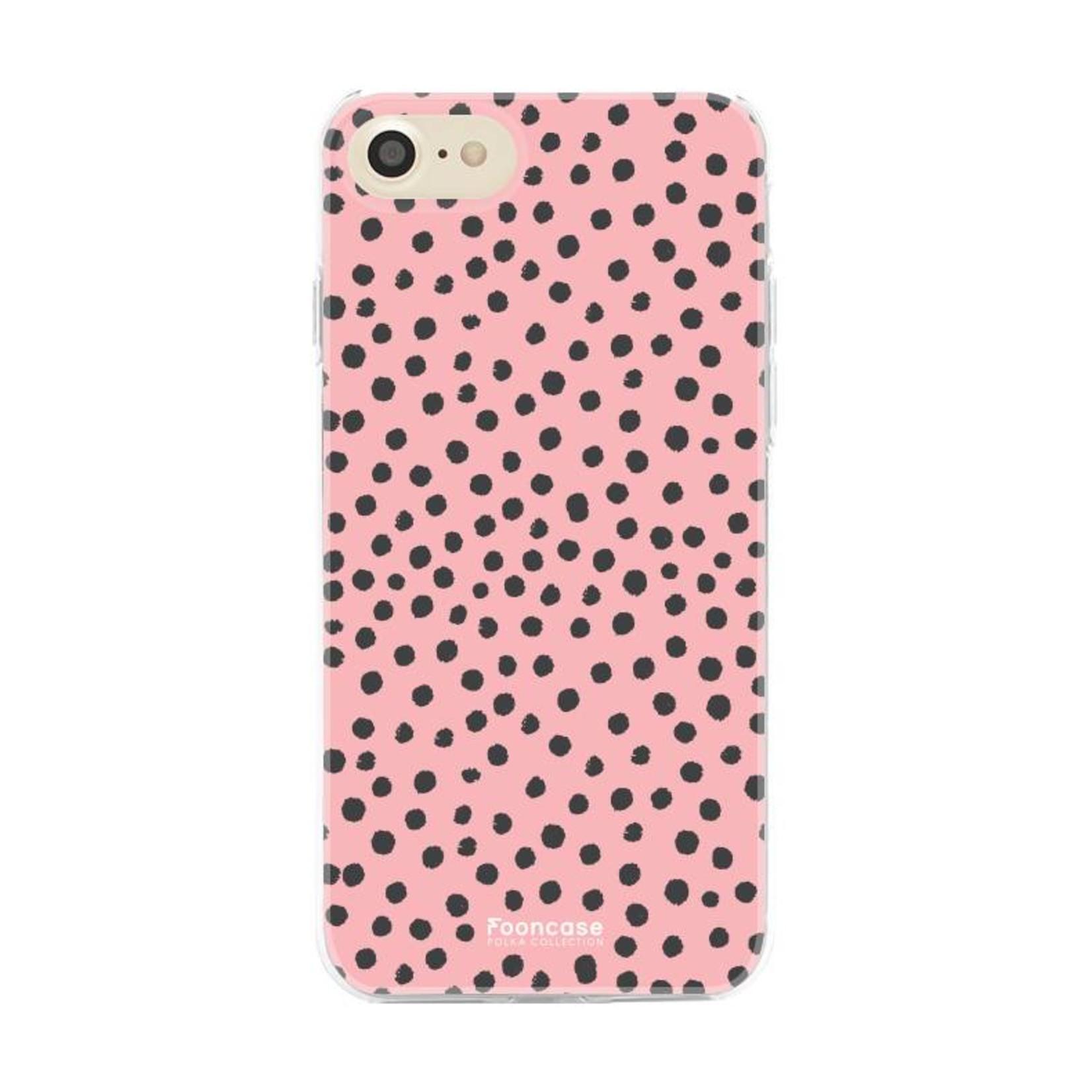 FOONCASE iPhone 7 hoesje TPU Soft Case - Back Cover - POLKA COLLECTION / Stipjes / Stippen / Roze