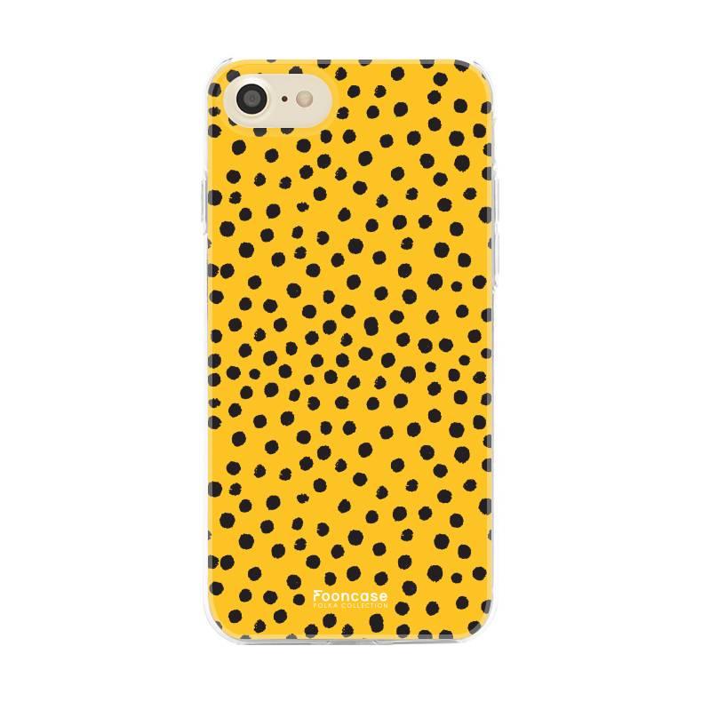 FOONCASE iPhone 7 hoesje TPU Soft Case - Back Cover - POLKA COLLECTION / Stipjes / Stippen / Oker Geel