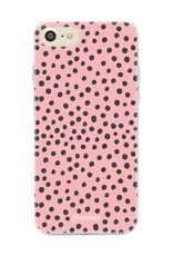 FOONCASE iPhone 8 hoesje TPU Soft Case - Back Cover - POLKA COLLECTION / Stipjes / Stippen / Roze