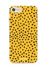 FOONCASE iPhone 8 hoesje TPU Soft Case - Back Cover - POLKA COLLECTION / Stipjes / Stippen / Oker Geel