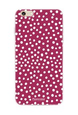 FOONCASE iPhone 6 / 6S hoesje TPU Soft Case - Back Cover - POLKA COLLECTION / Stipjes / Stippen / Bordeaux Rood