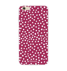 FOONCASE Iphone 6 / 6S - POLKA COLLECTION / Bordeaux Rood